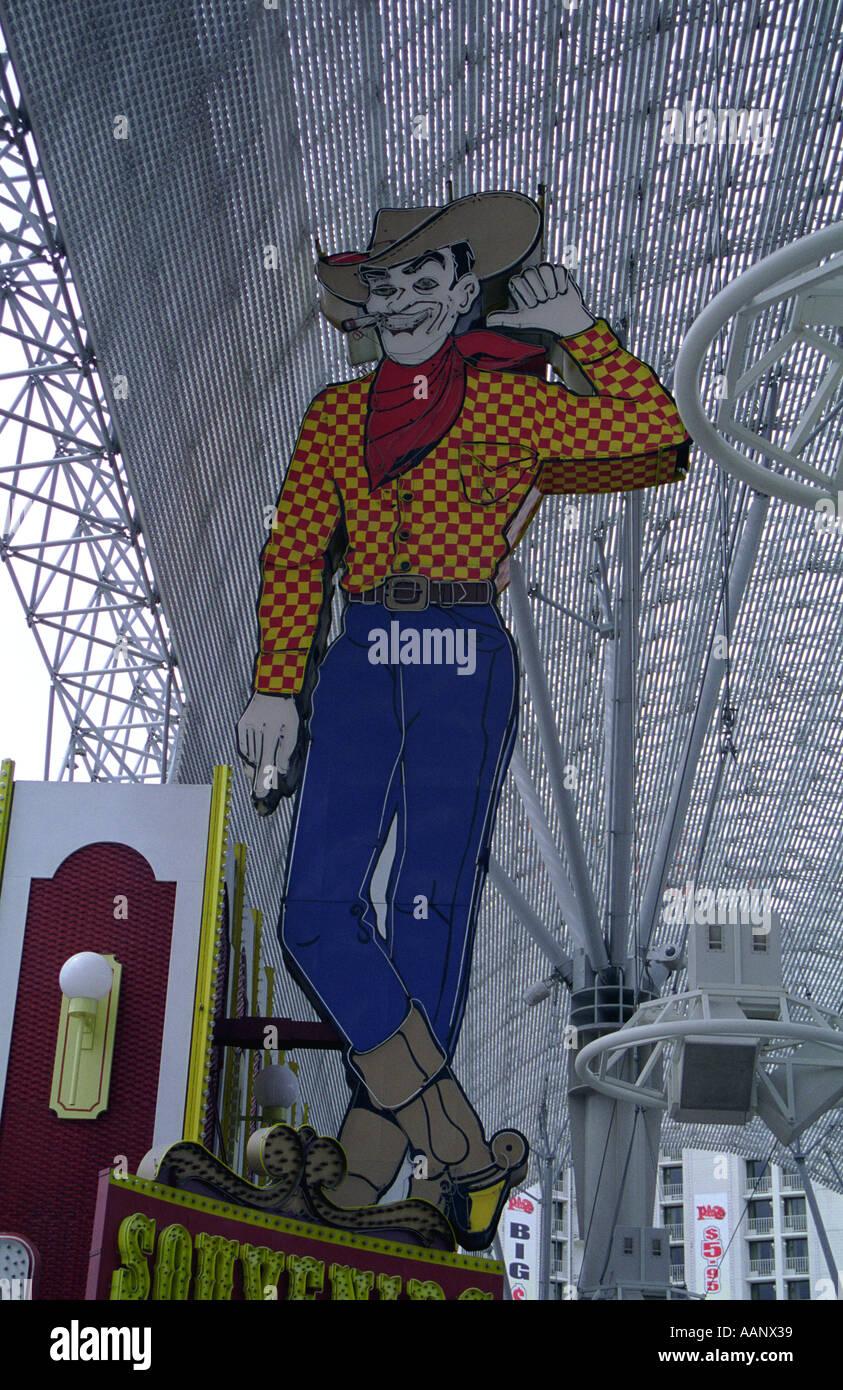 Vegas Vic sign Fremont Street Experience Las Vegas Nevada USA - Stock Image
