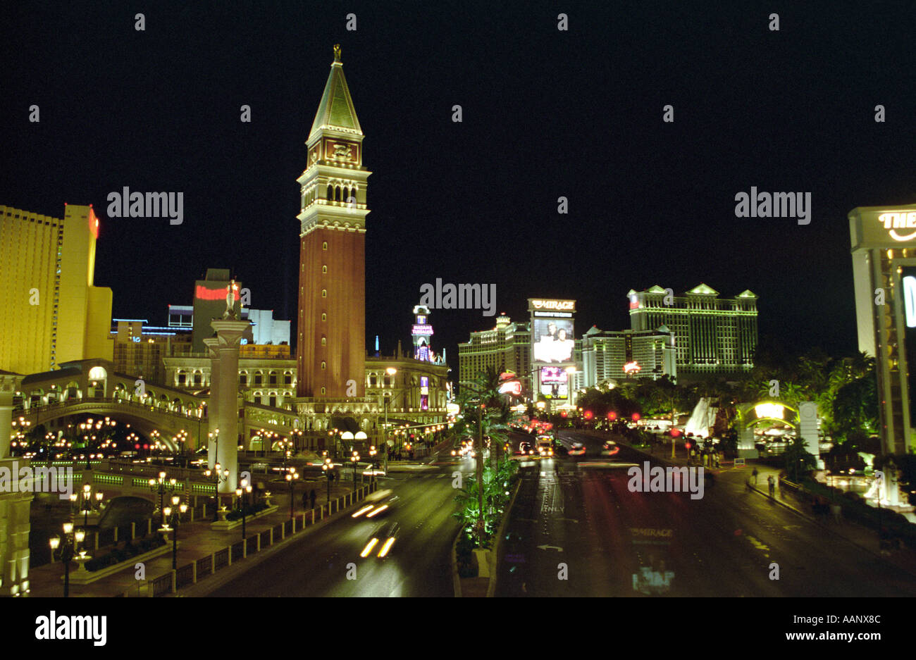 The Vegas Strip at Night outside the Venetian resort hotel and casino Las Vegas Nevada USA - Stock Image