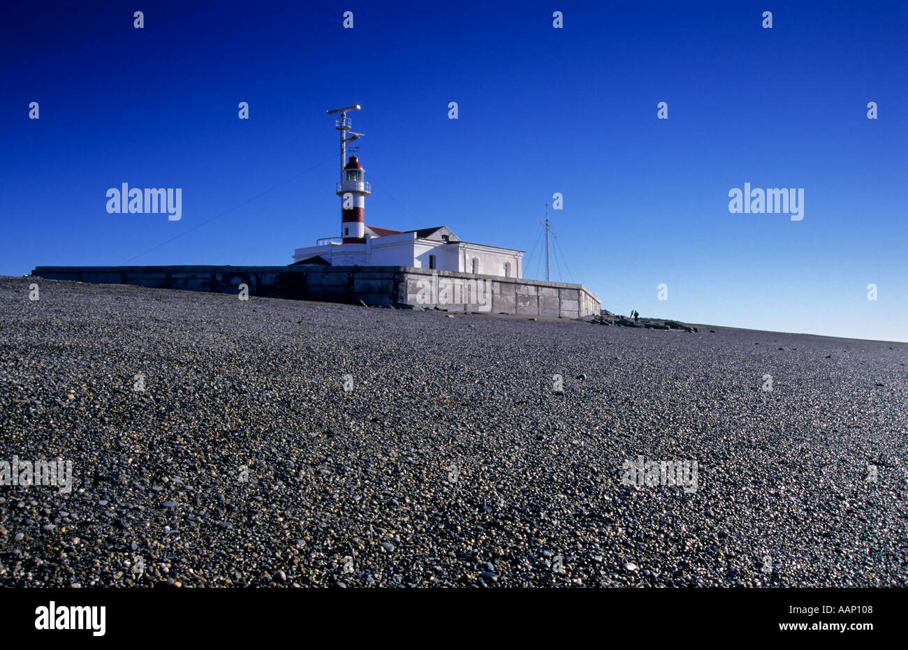 Lighthouse on the Straits of Magellan, Patagonia, Chile - Stock Image