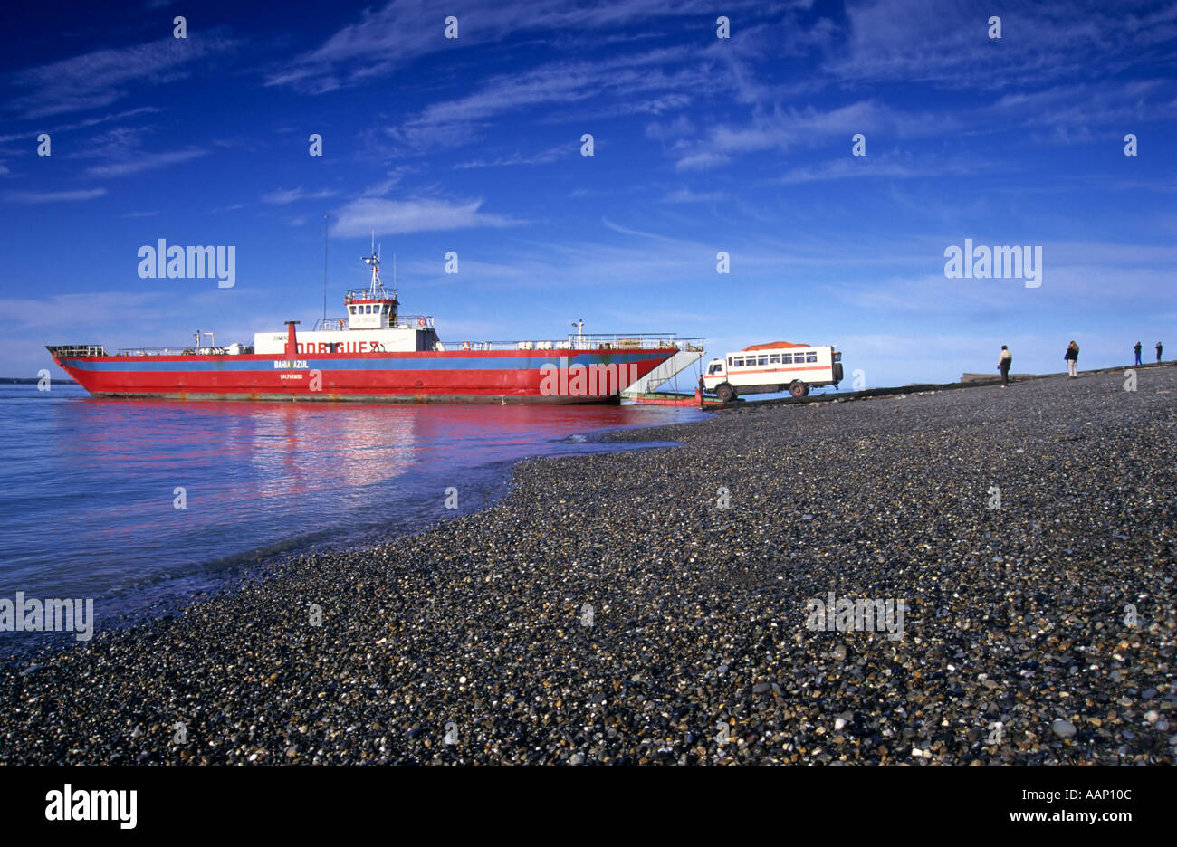 Loading the Ferry across the Straits of Magellan, Patagonia, Chile - Stock Image