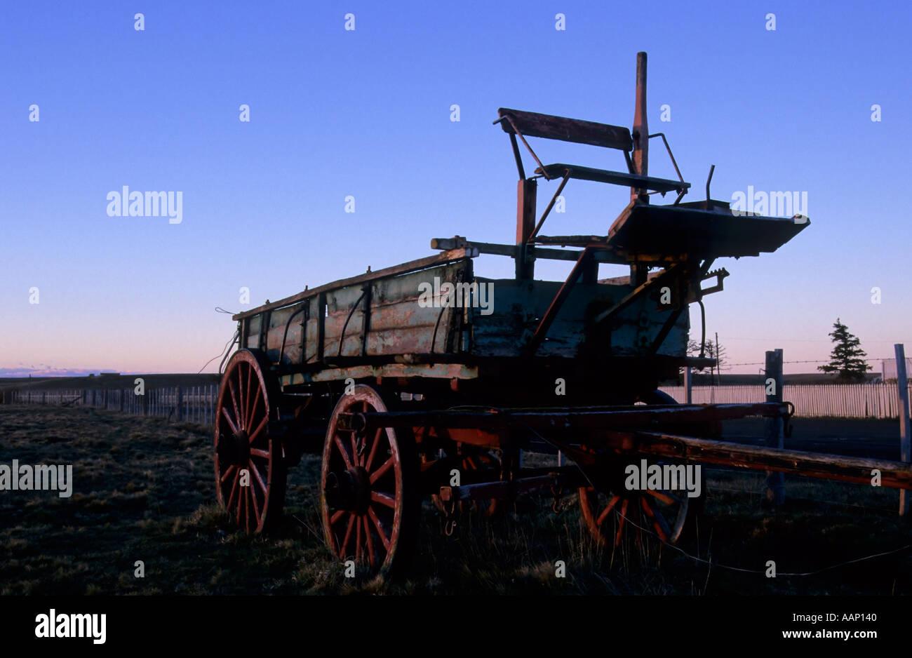 Dawn over an old cart, Estancia Sara, Tierra del Fuego, Argentina
