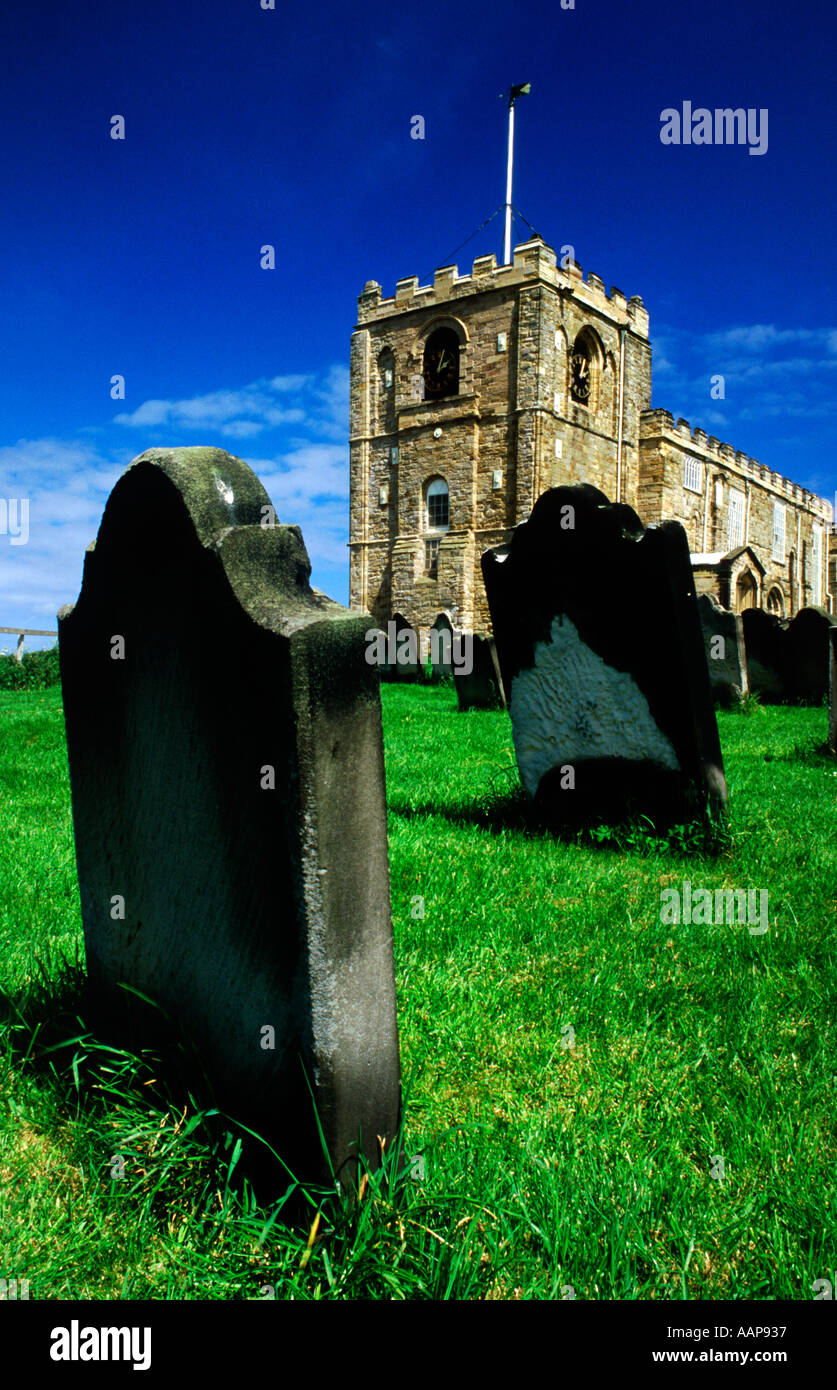 Graveyard of St Mary s Church East Cliff Whitby North Yorkshire United Kingdom UK - Stock Image