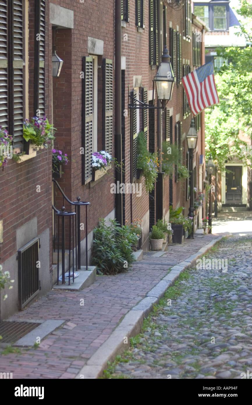 Historic cobblestone street in beacon hill section of Boston Massachusetts USA - Stock Image