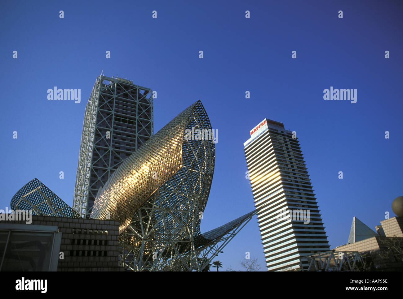 Peix Frank Gehry s fish sculpture Barcelona Spain - Stock Image