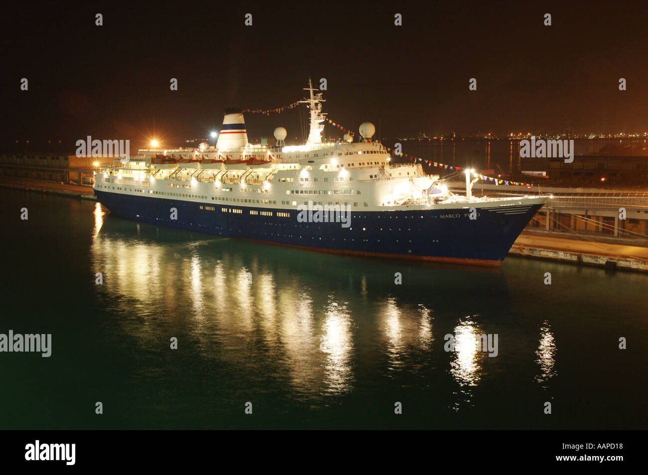 Cruise ship Marco Polo by night in Venice. Marco Polo is a former Soviet icebreaker, rebuilt in 1993. - Stock Image