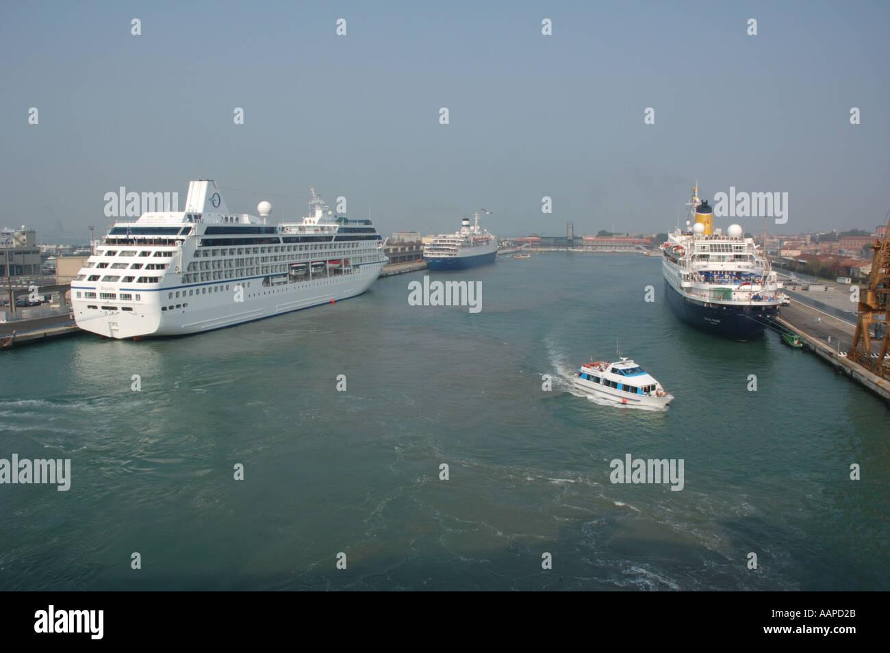 Cruise ships Regatta, Marco Polo and Saga Rose in Venice, Italy - Stock Image