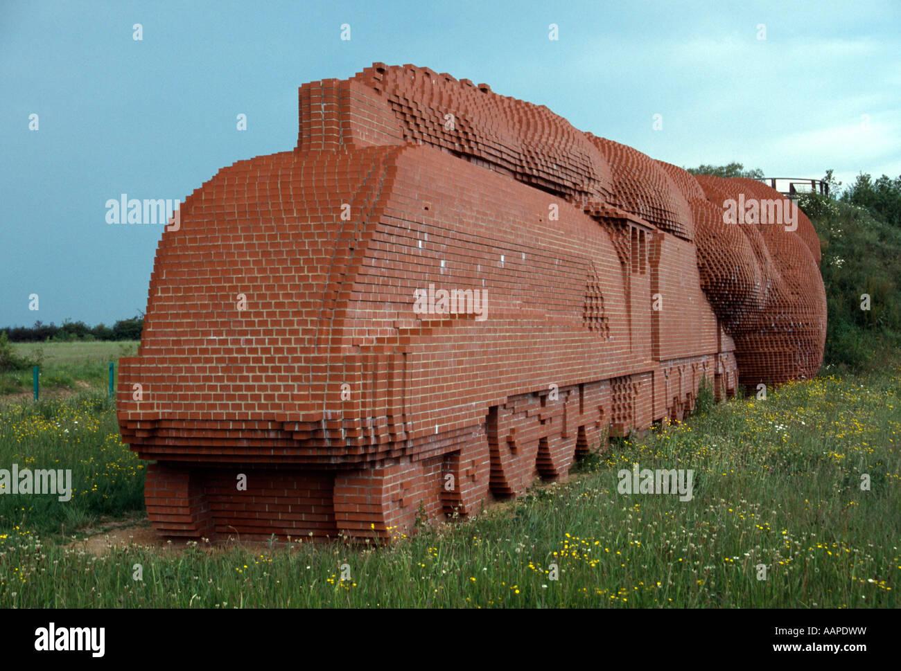 "brick train sculpture ""Mallard"" locomotive Darlington by David Mach england uk gb - Stock Image"