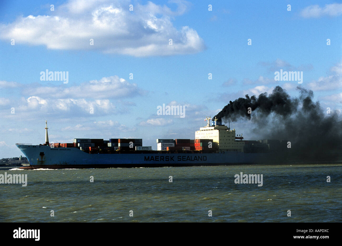 A container ship, Port of Felixstowe, Suffolk, Britain's largest container port. - Stock Image