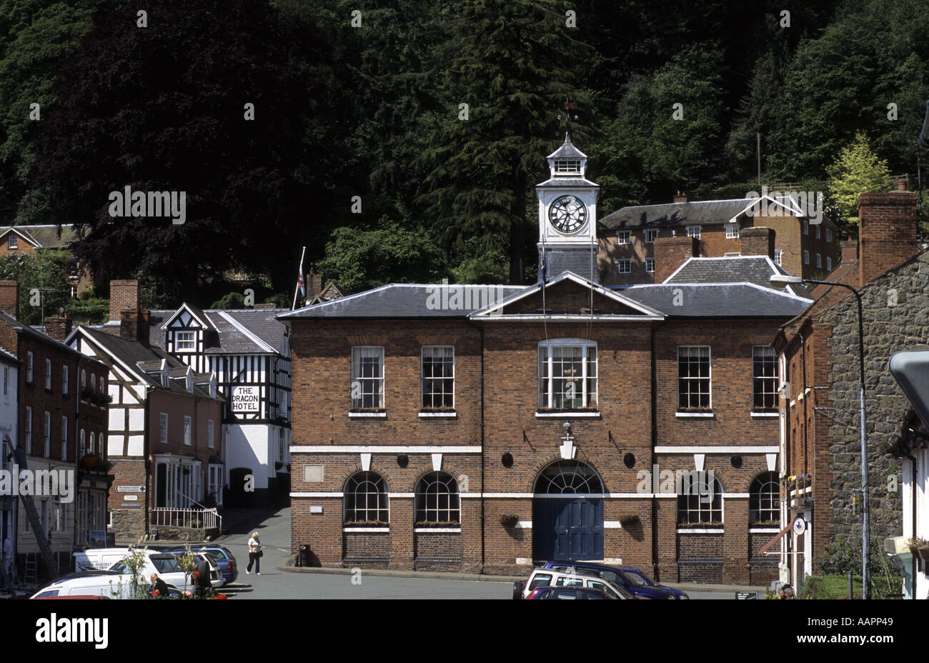 Town Hall and town centre, Montgomery, Powys, Wales, UK Stock Photo