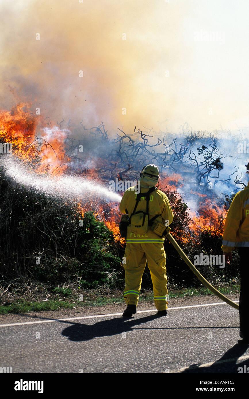 California, Marin County, Brush Fire, Marin Headlands, GGNRA - Stock Image