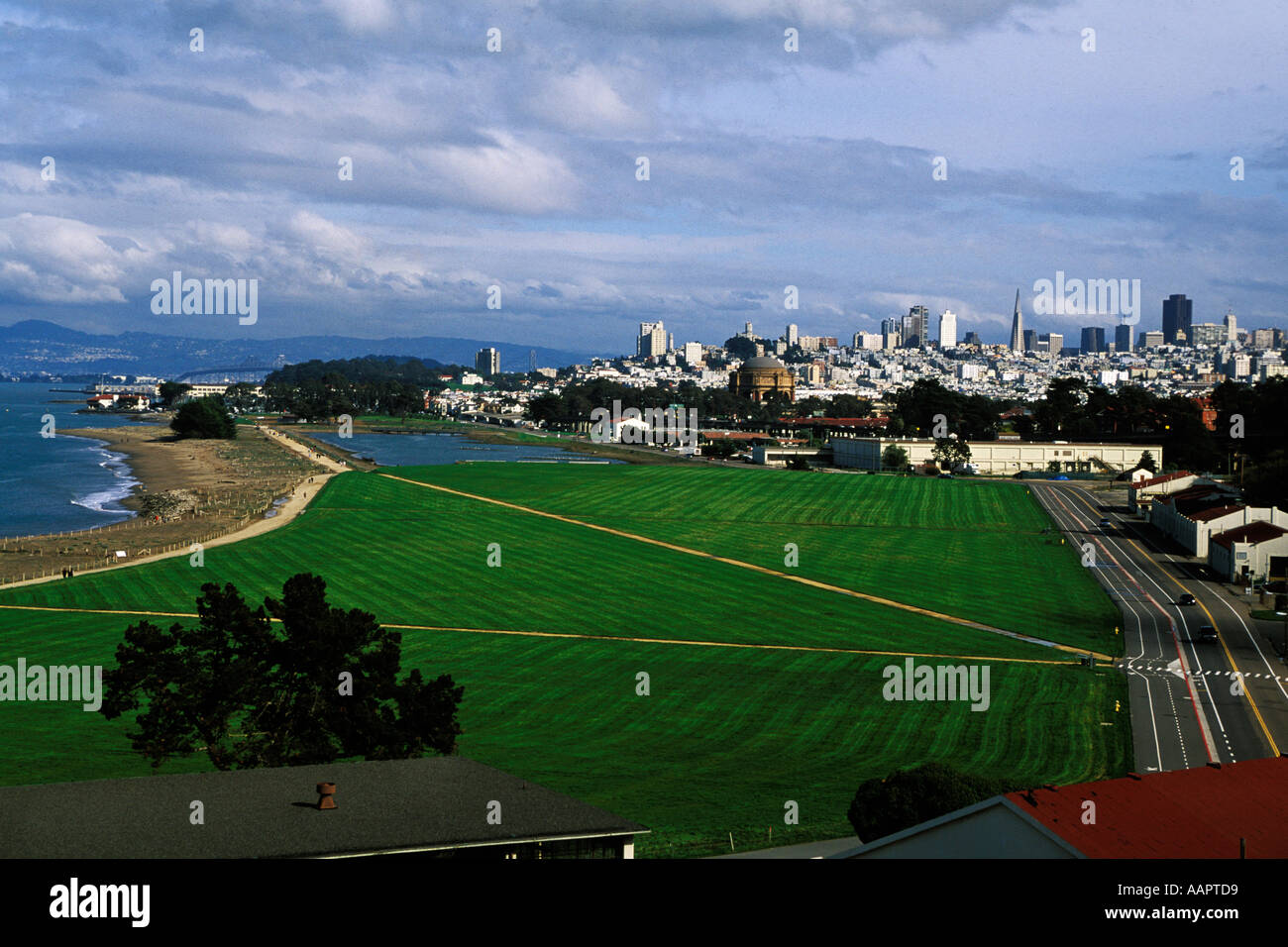California, San Francisco, GGNRA, Restored airfield, Crissy Field - Stock Image