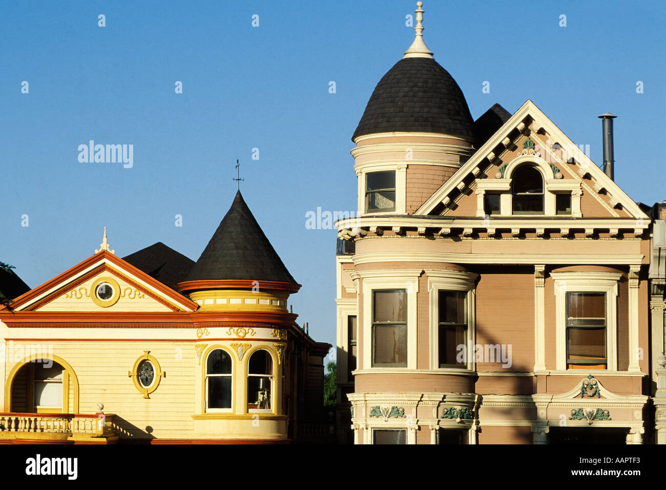 California, San Francisco, Victorians on Steiner Street Stock Photo
