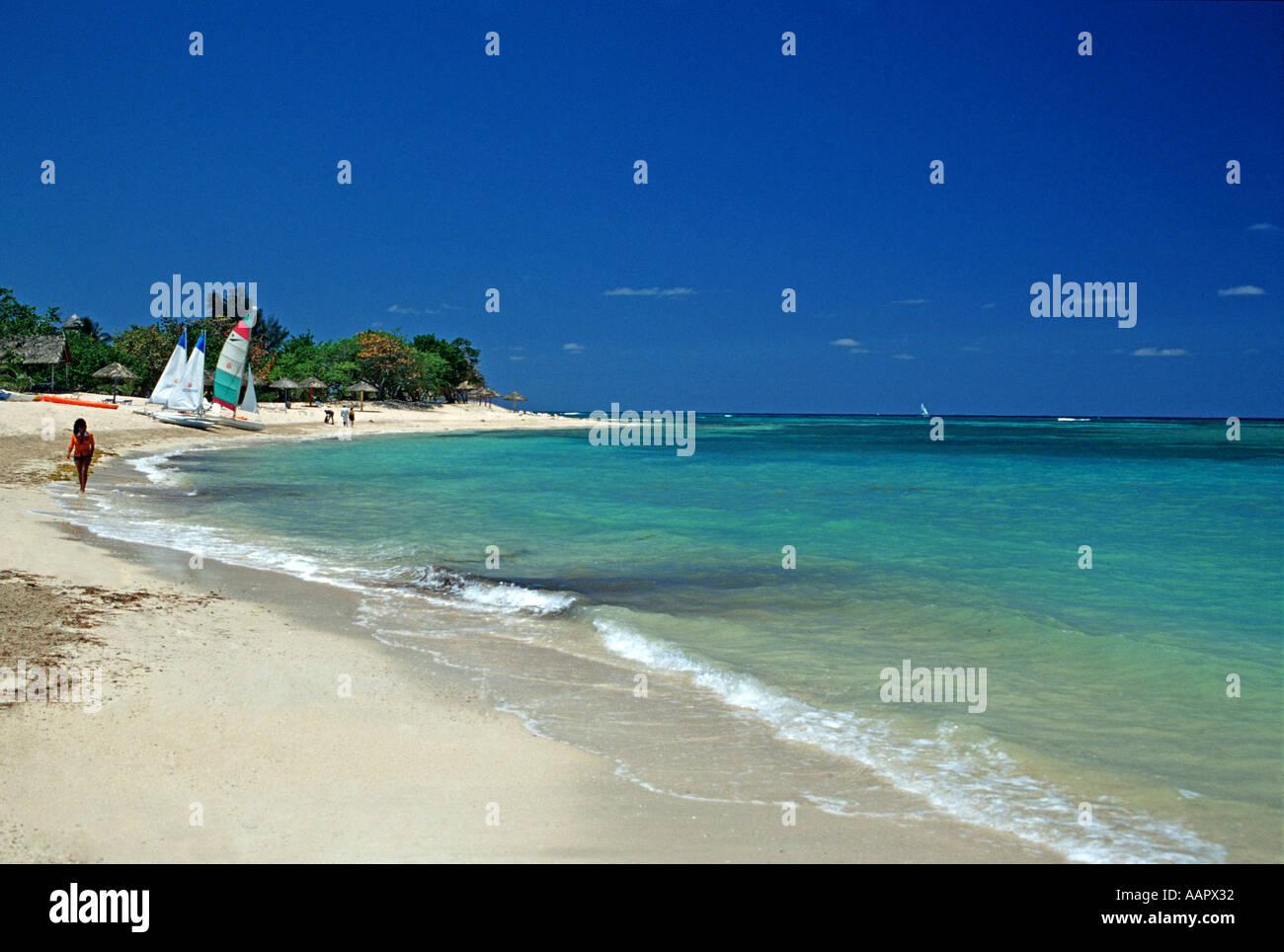 Inviting blue waters of the Caribbean at Jibacoa beach Cuba - Stock Image