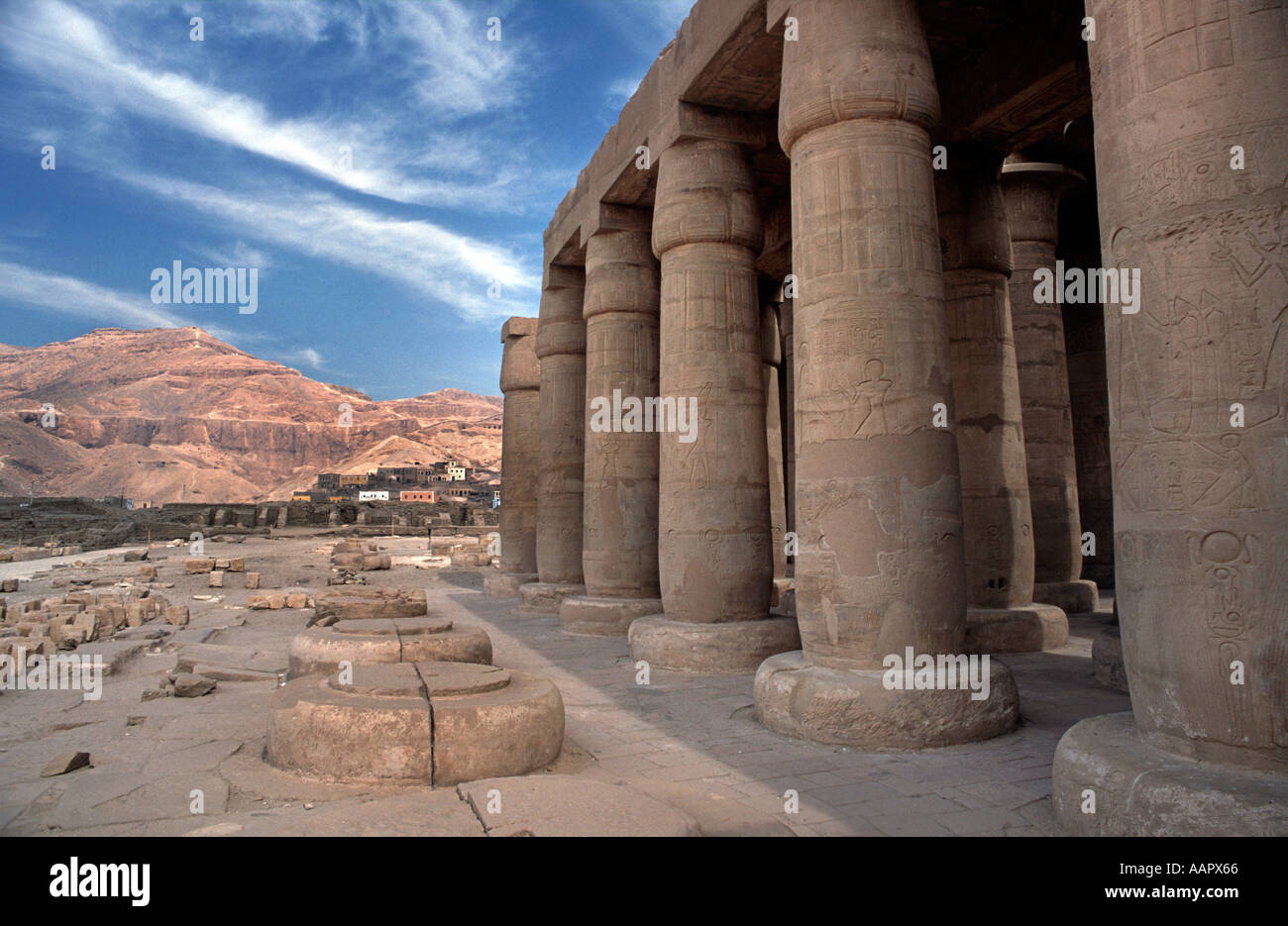 Mortuary temple of Ramses II The Ramesseum Collosal columns of the Hypostyle Hall Thebes West Luxor Egypt - Stock Image