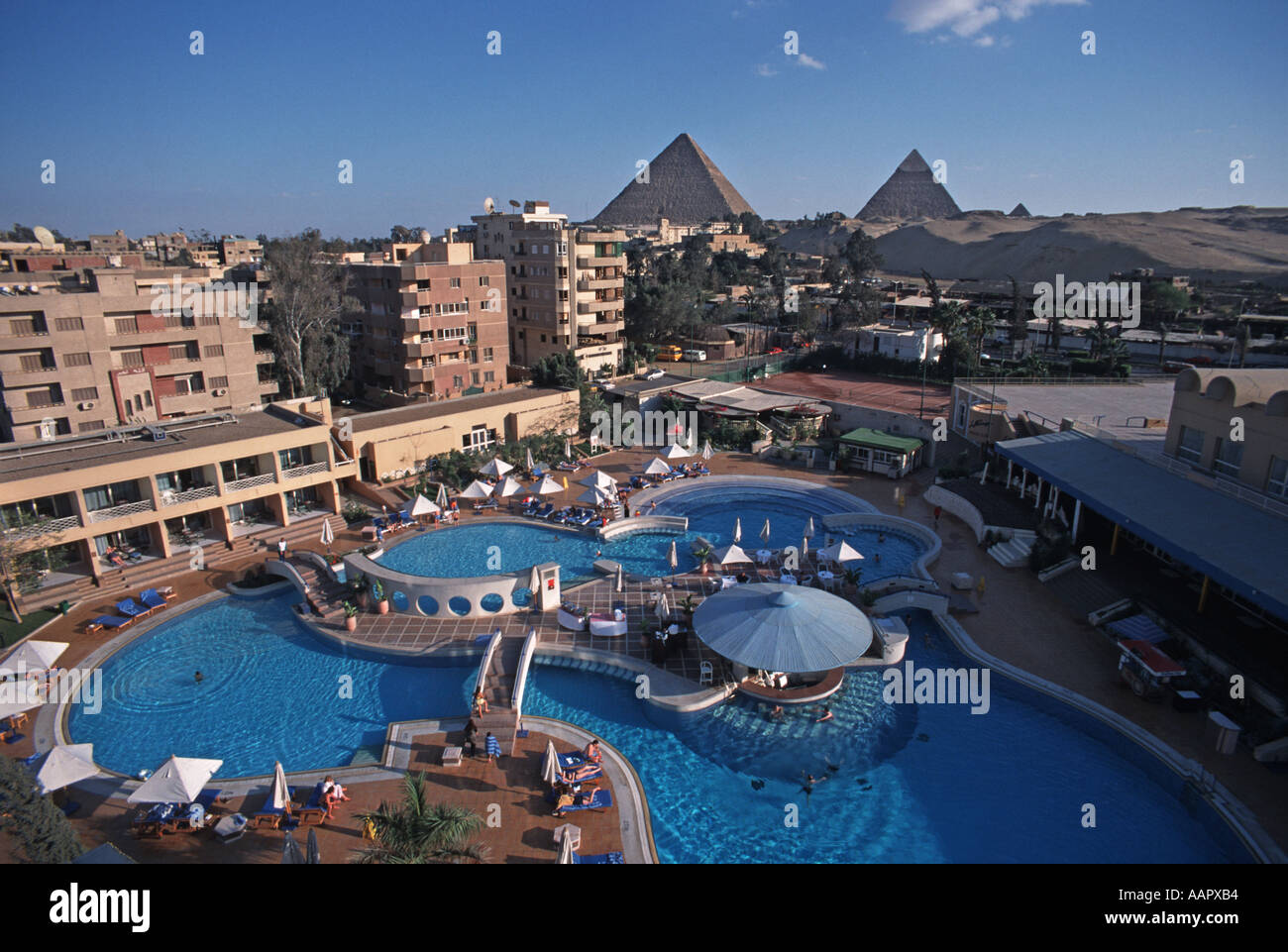 View Of The Great Pyramids Of Giza From The Luxurious Le Meridien Stock Photo Alamy