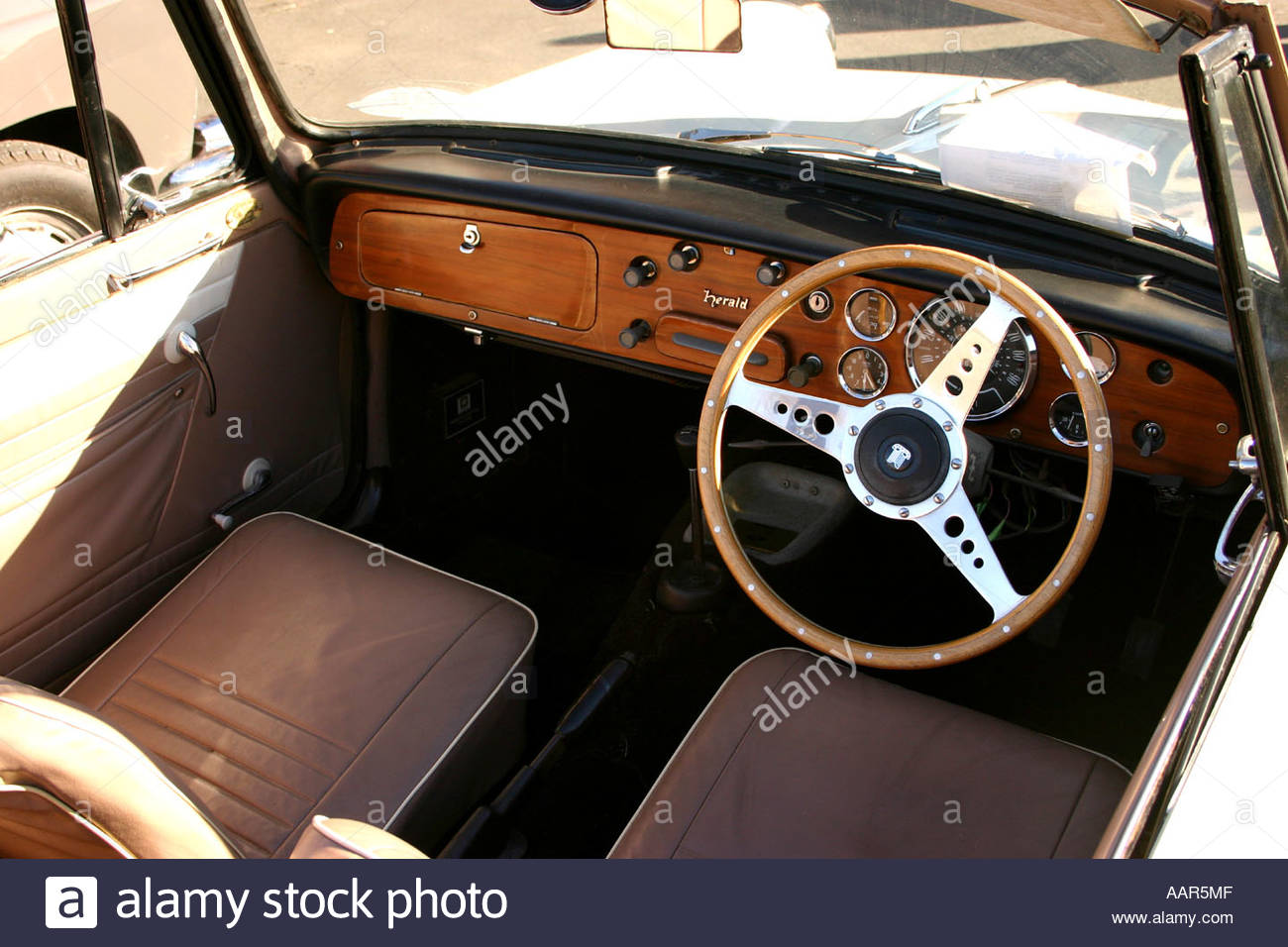 1960 triumph herald convertable interior classic car on display at stock photo 7249678 alamy. Black Bedroom Furniture Sets. Home Design Ideas