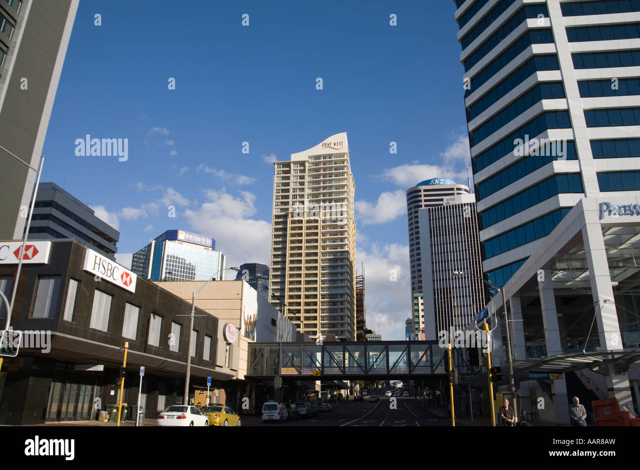 AUCKLAND NORTH ISLAND NEW ZEALAND May Looking up Albert Street towards the Central Business District skyscrapers - Stock Image