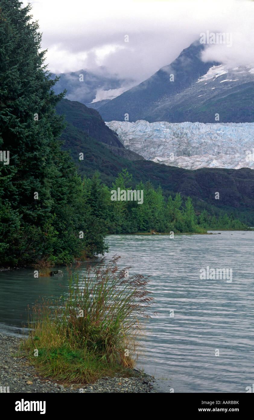 MENDENHALL GLACIER as seem frp MENDENHALL LAKE JUNEAU ALASKA - Stock Image