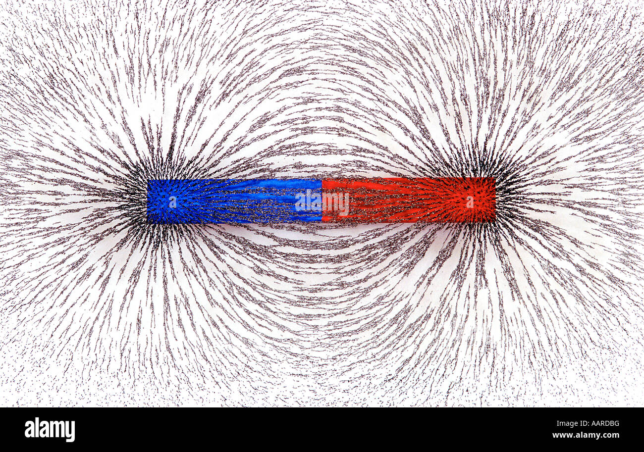 Bar Magnet showing magnetic field w iron filings - Stock Image