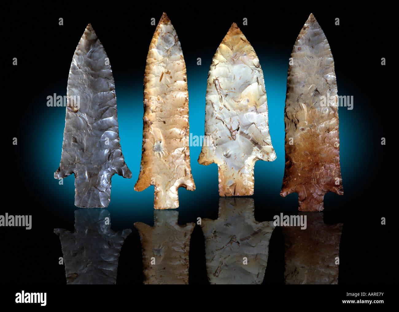 Spear Points, Illinois, Archaic period, St Louis Missouri St Louis Missouri artifact weapon - Stock Image