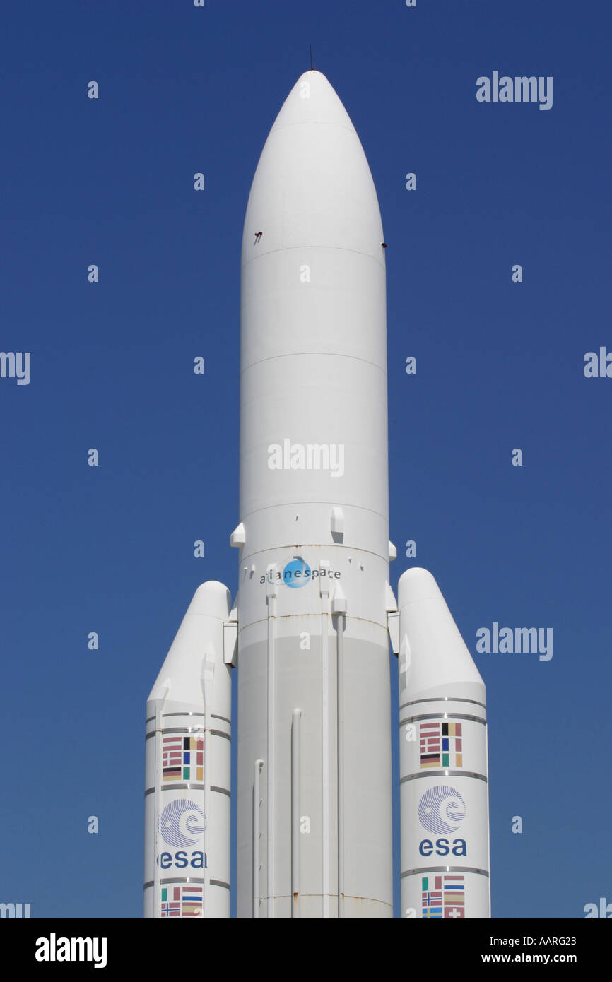 Ariane space rocket with European Space Agency ESA titles - Stock Image