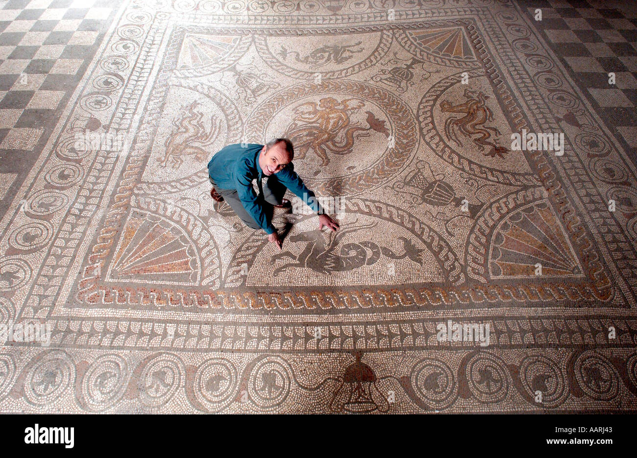 Magnificent mosaic floor in preserved Roman Villa at Fishbourne Sussex UK - Stock Image