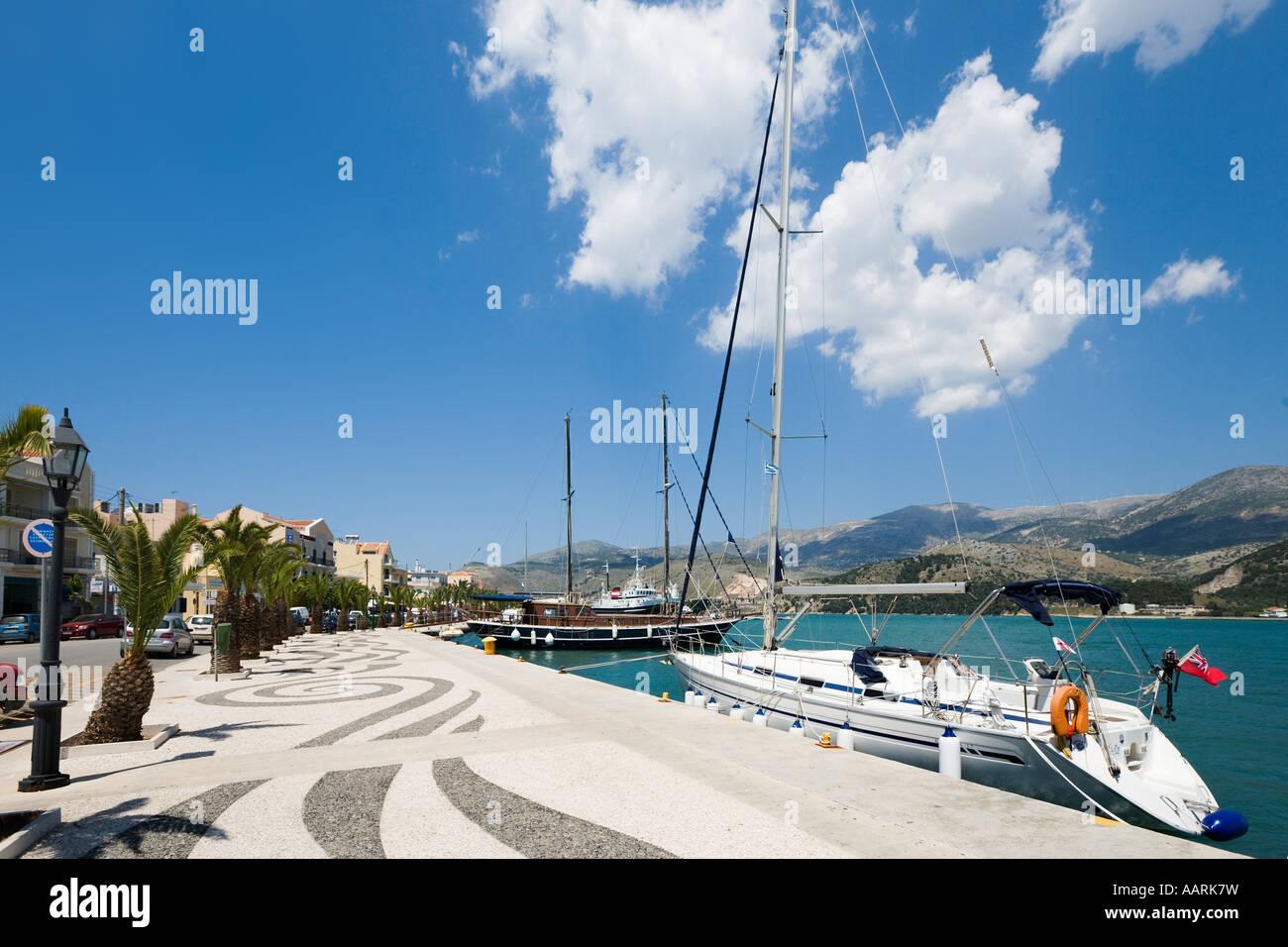 Harbour and Seafront Promenade, Argostoli, Kefalonia, Ionian Islands, Greece - Stock Image