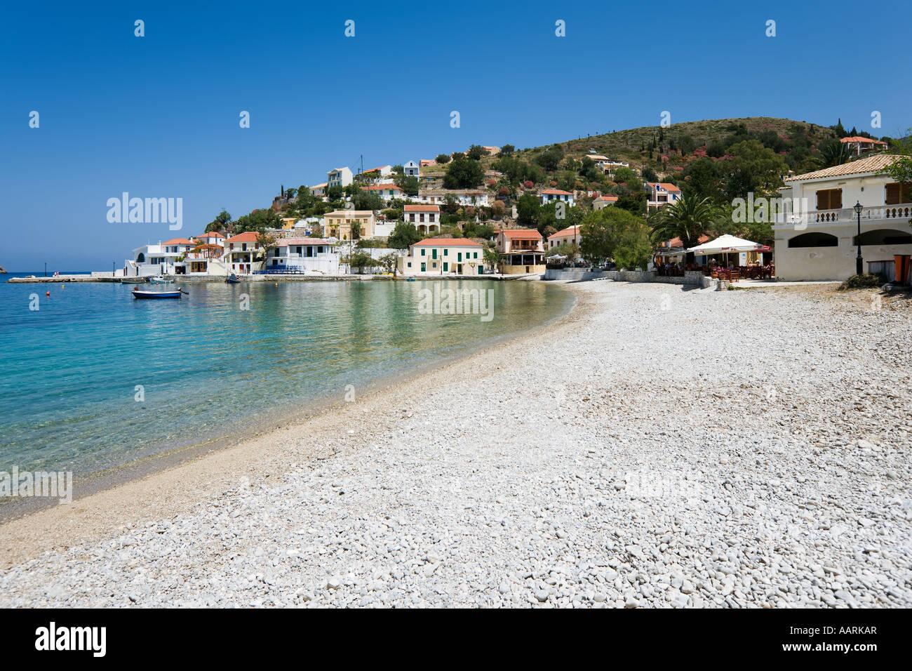 Town Beach, Assos, Kefalonia, Ionian Islands, Greece - Stock Image