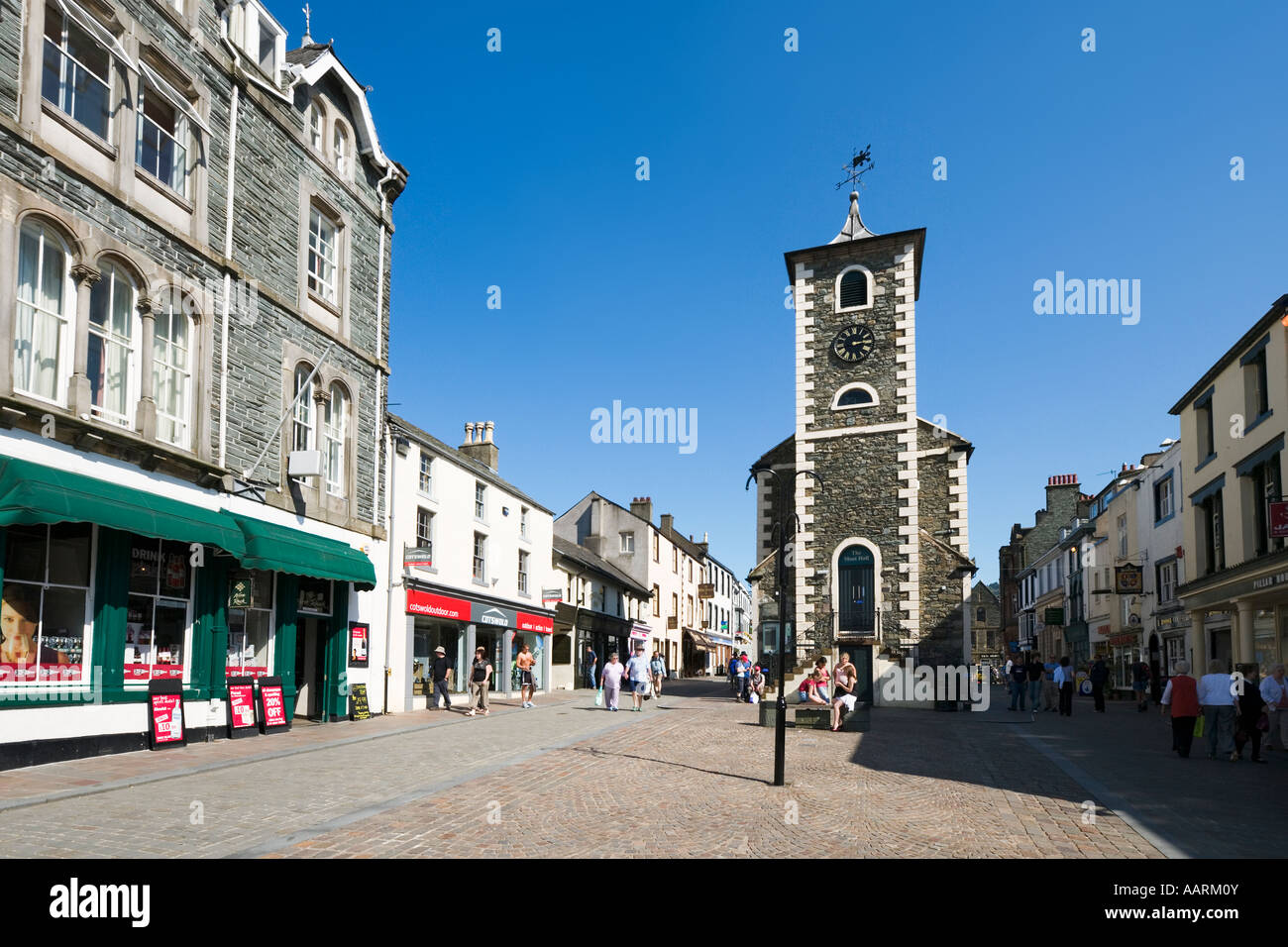 Town Centre and Moot Hall, Keswick, Lake District, Cumbria, England, UK - Stock Image