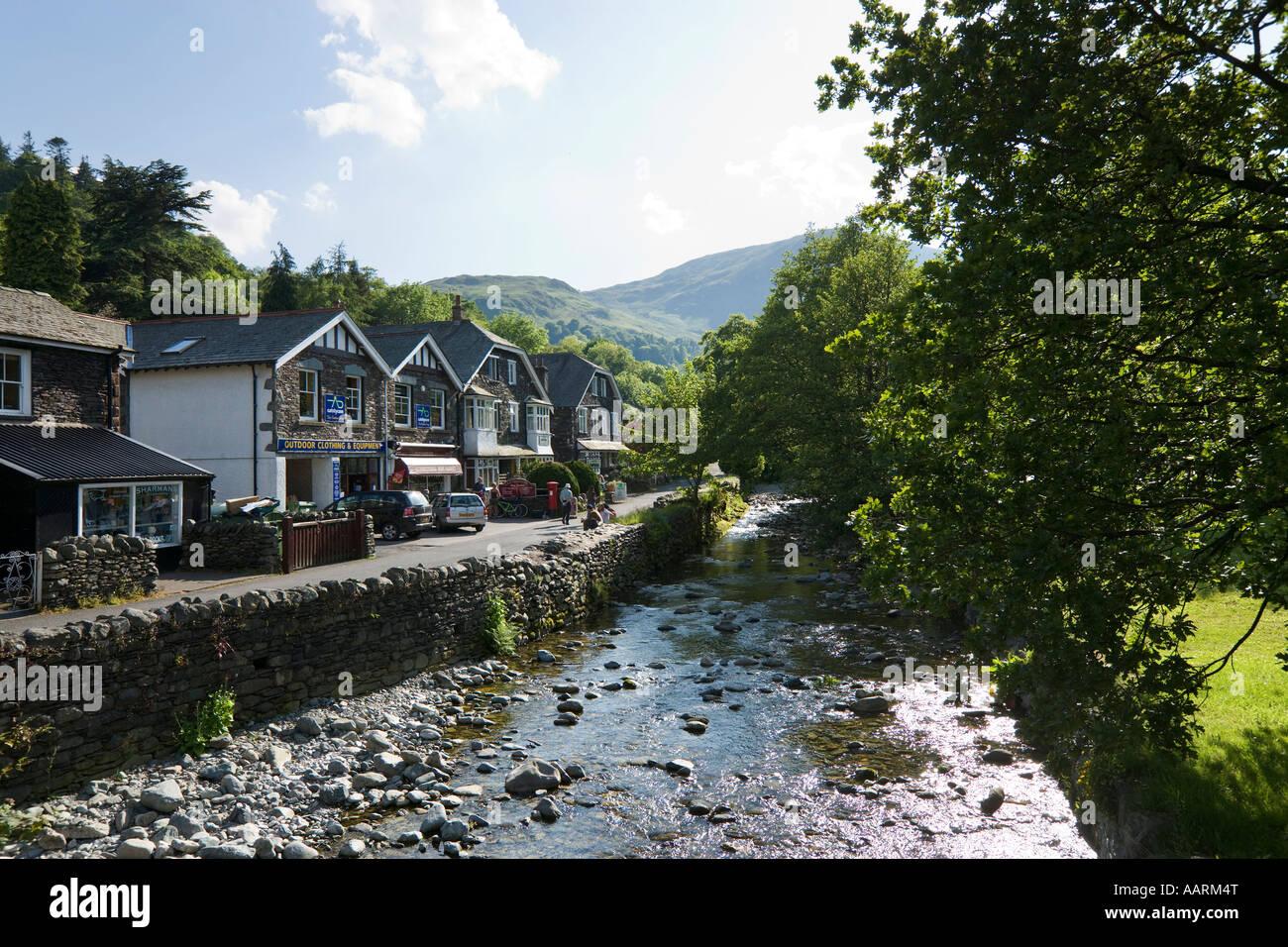 Stream in Village Centre, Glenridding, Ullswater, Lake District National Park, Cumbria, England, UK Stock Photo