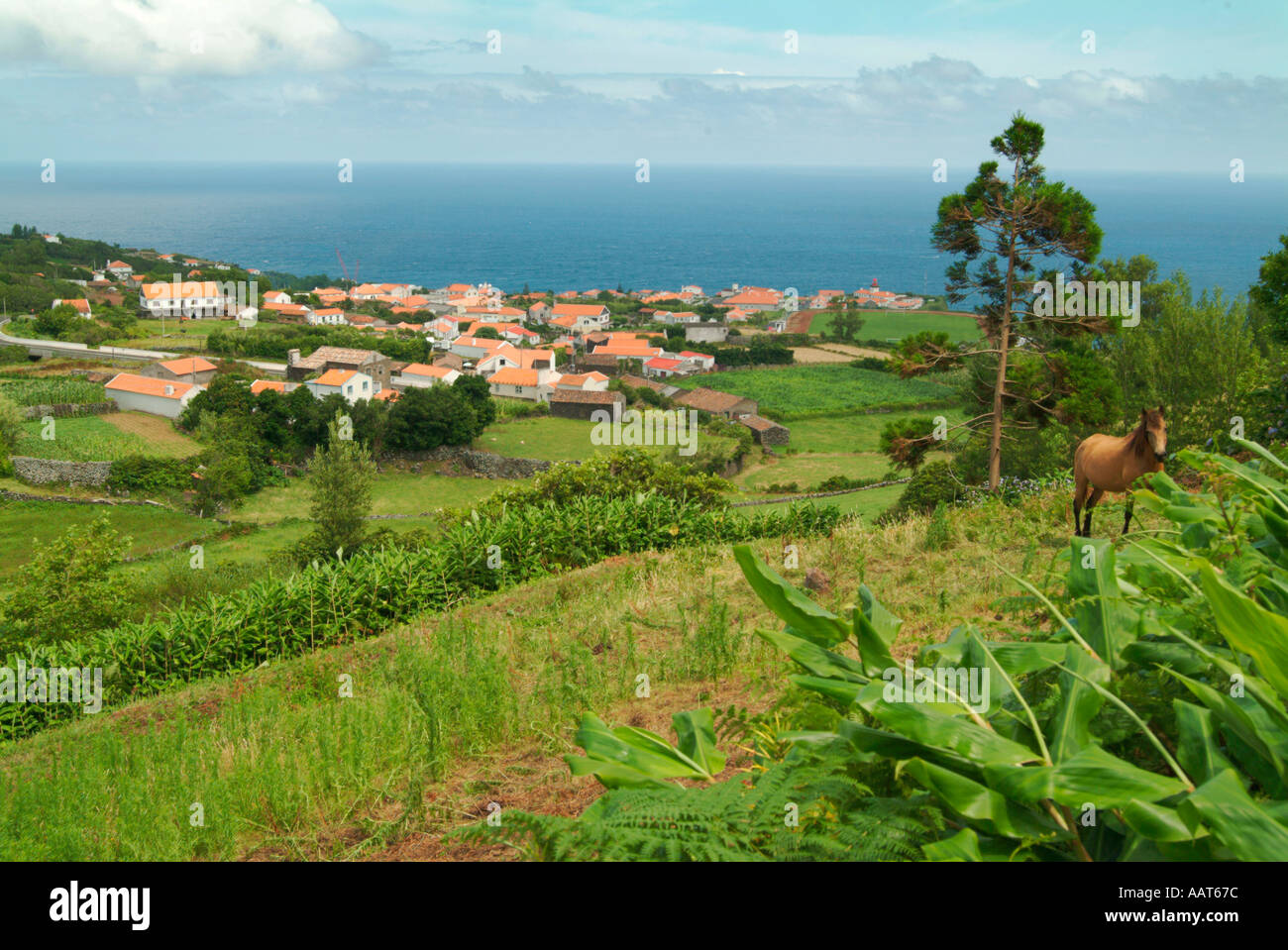 The port town of Lages on the island of Flores in the Azores. Flores translates to flowers and is called the Island of Flowers. - Stock Image