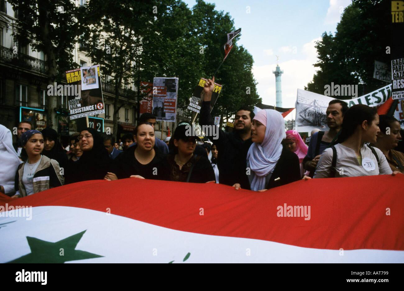 Protest Stop Israel s war on Palestine Paris France - Stock Image
