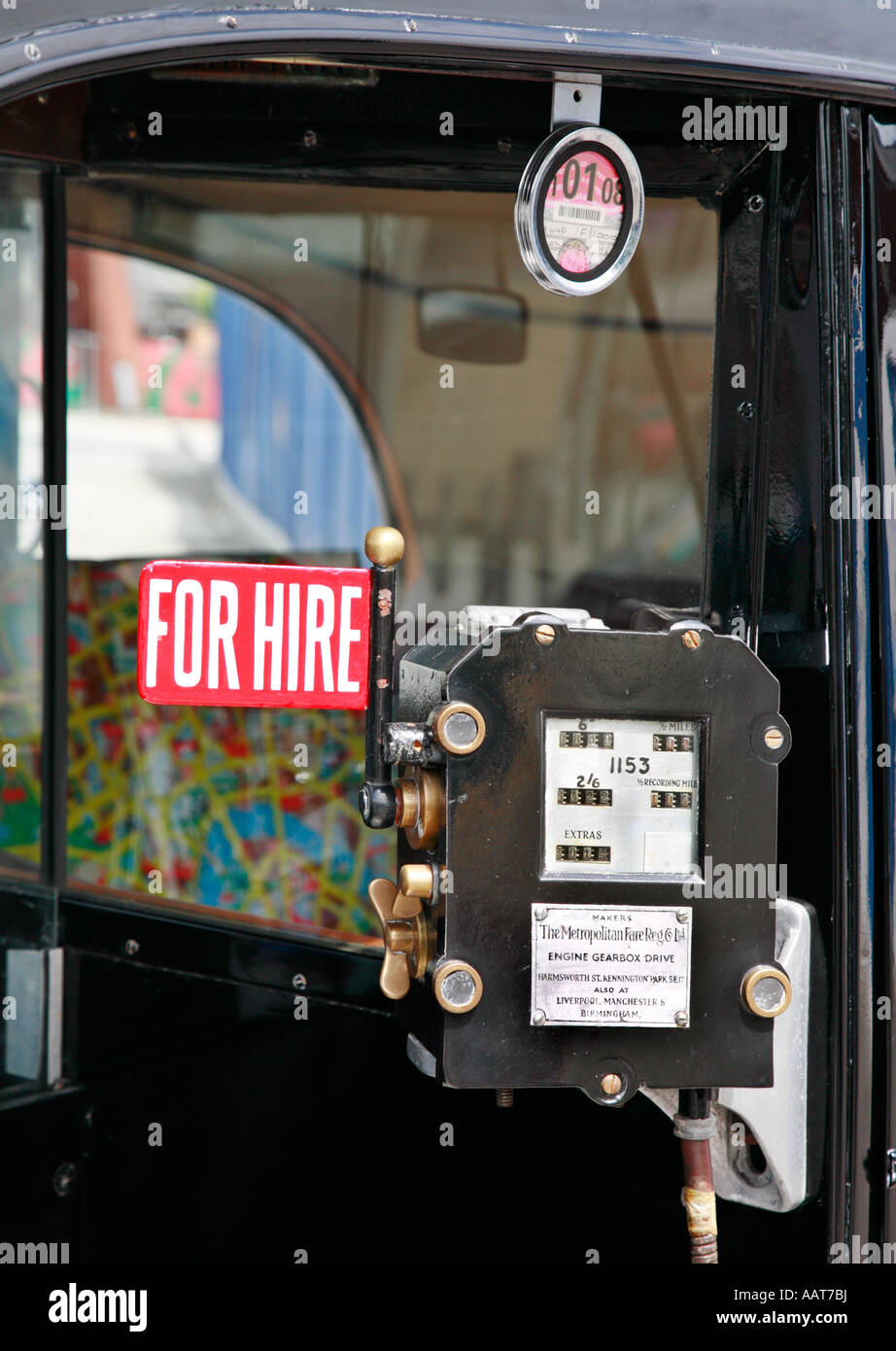 Fare meter on an old London taxi cab For Hire - Stock Image
