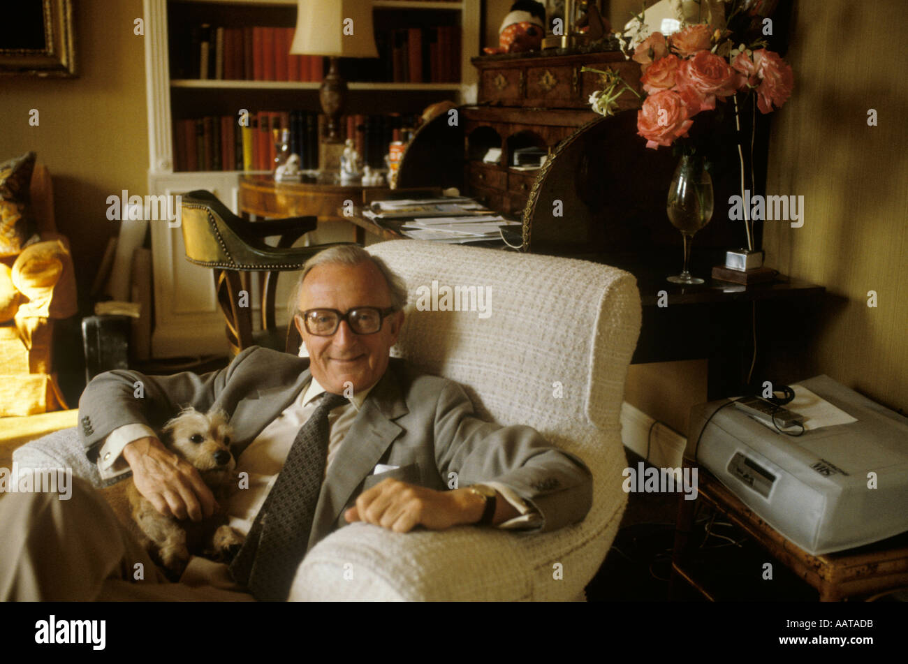 Lord Carrington at home.1970s portrait  The Manor House in Bledlow, Buckinghamshire 70s UK HOMER SYKES - Stock Image