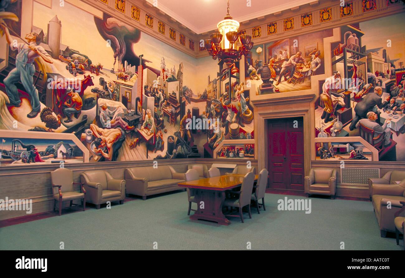 Elk271 1196 Missouri Jefferson City Missouri State Capitol House Lounge  Thomas Hart Benton s murals
