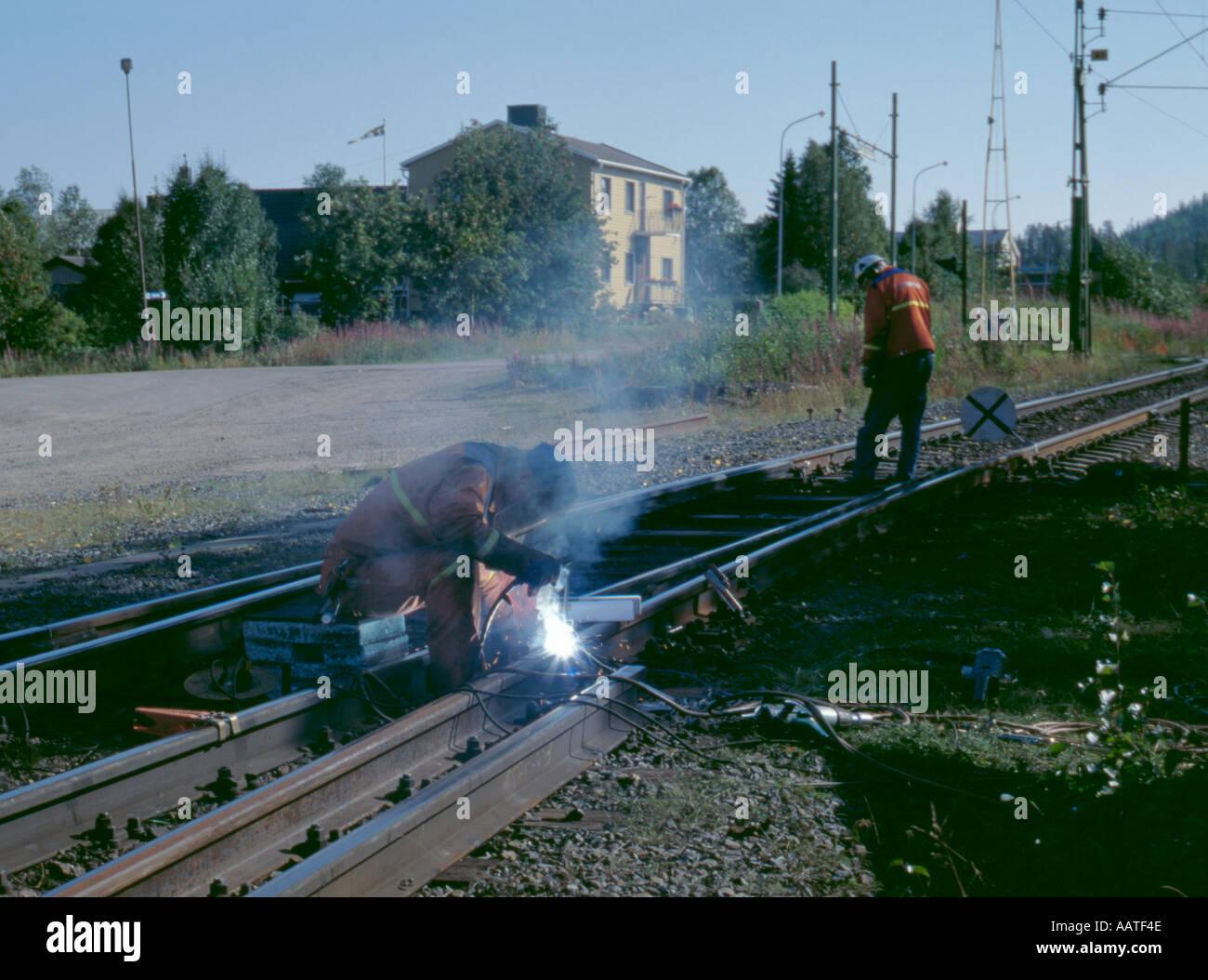 Welding a section of railway track; Gällivare, Lappland, Norrbottens Län, Sweden. - Stock Image