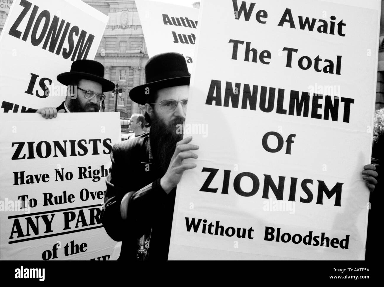 Orthodox Jews in London, England, demonstrating against Israel - Stock Image