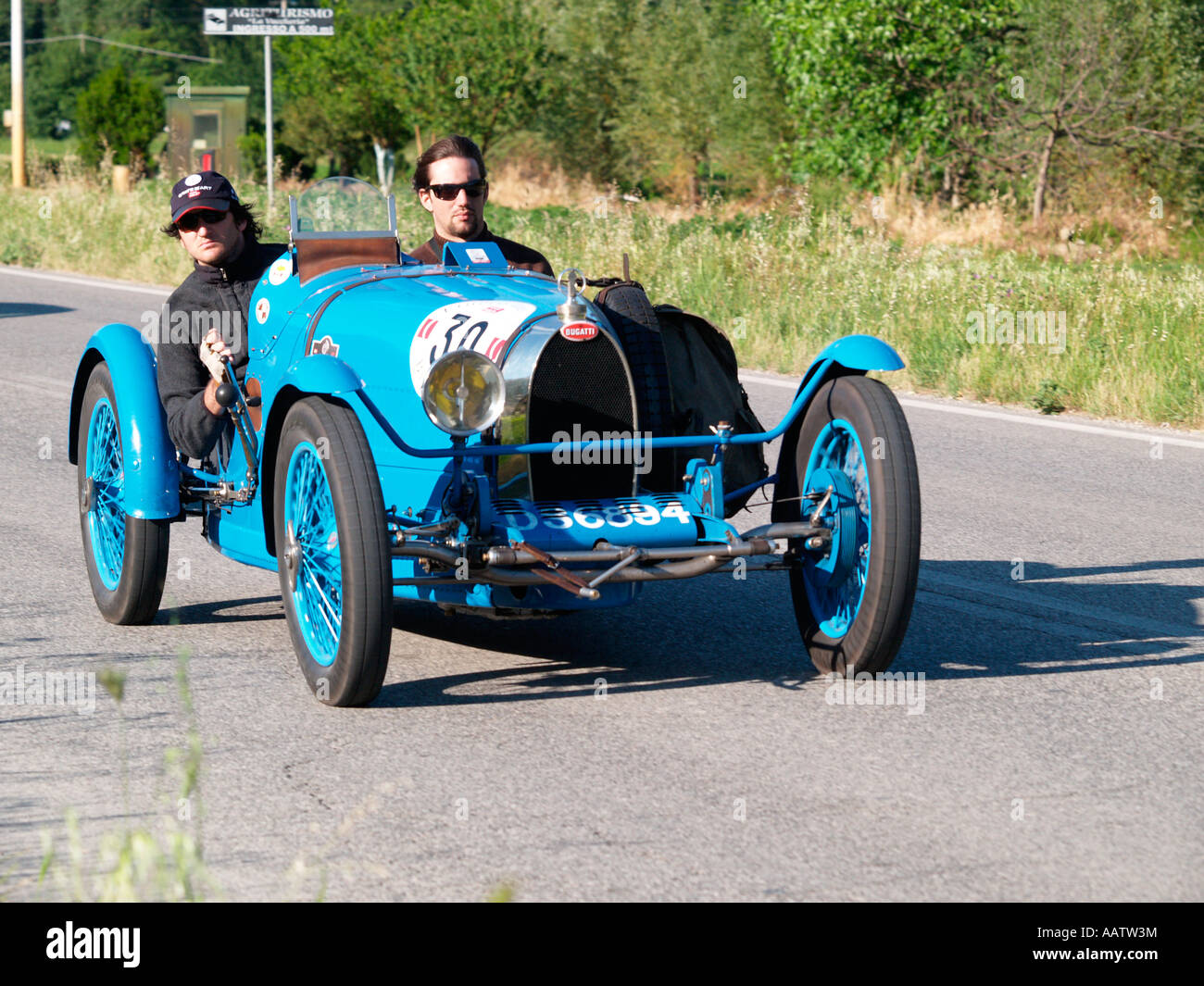 1926 BUGATTI T 37 competing in the mille miglia classic car rally Italy 2007 - Stock Image