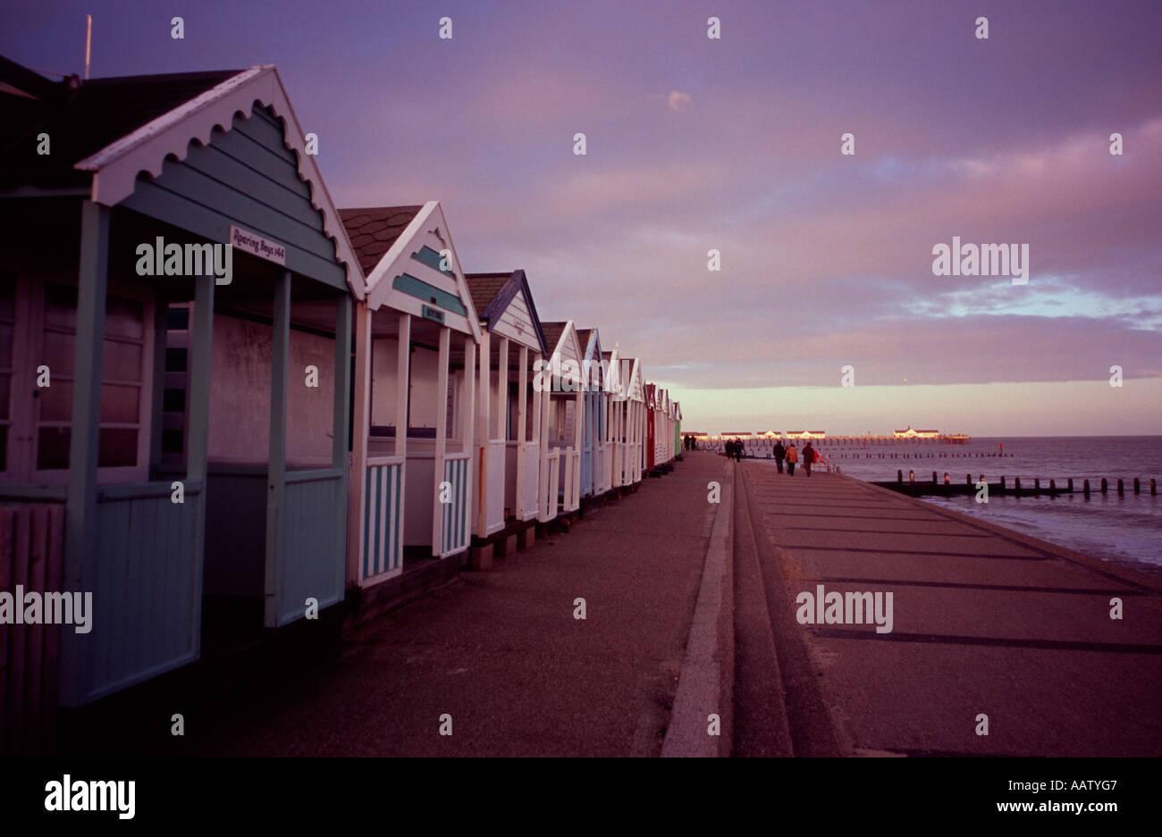 Row of beach huts along the promenade at Southwold, Suffolk, UK Stock Photo