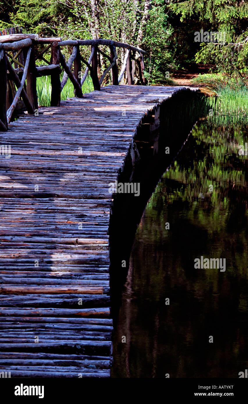 Wooden garden bridge Stock Photo