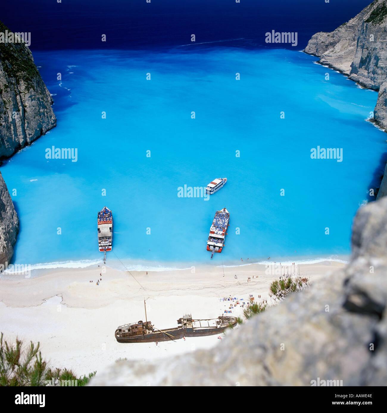 SHIPWRECK ON NAVAGIO BEACH ZAKYNTHOS GREECE - Stock Image