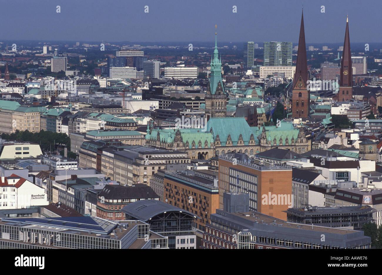View from Michaeliskirche called Michel Hamburg Germany Stock Photo