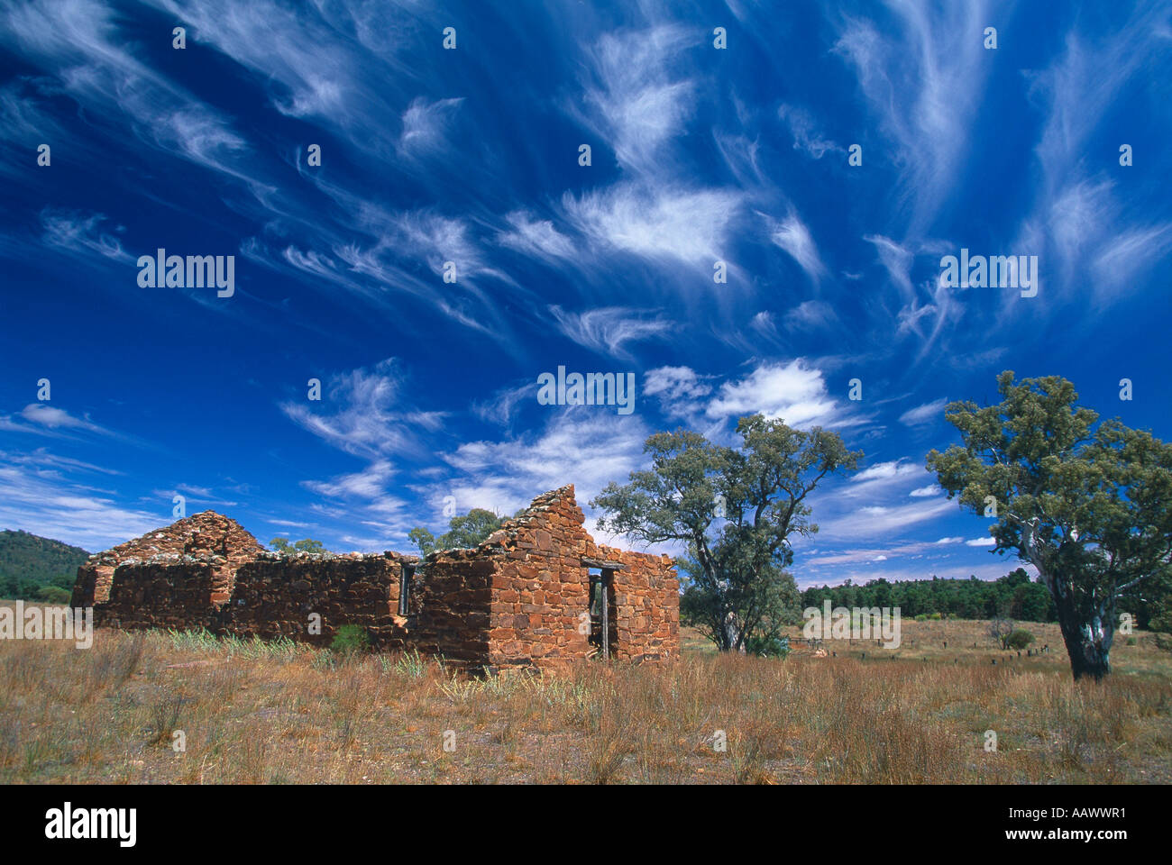 the Outback dramatic sky over early settlers ruins Flinders Ranges South Australia - Stock Image
