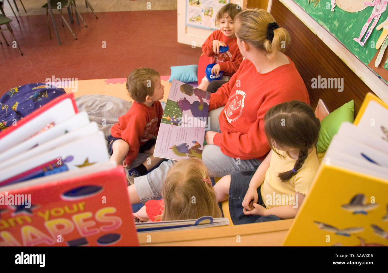 storytime at playgroup - Stock Image