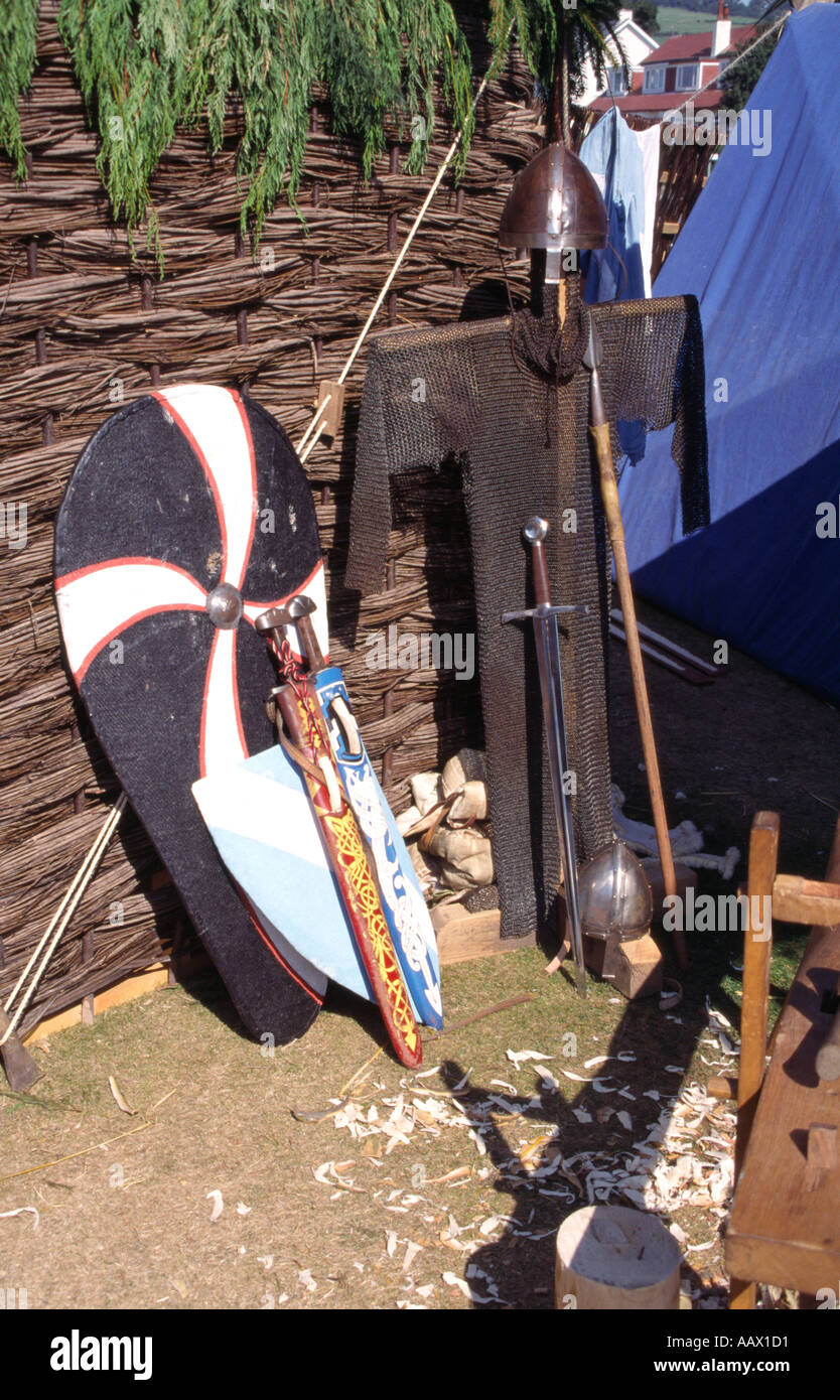Viking armour and weaponry Largs Viking Festival Ayrshire Scotland Europe - Stock Image