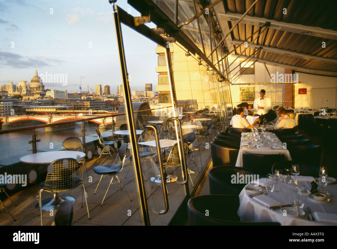 Oxo Tower Restaurant overlooking Thames River and London, England - Stock Image