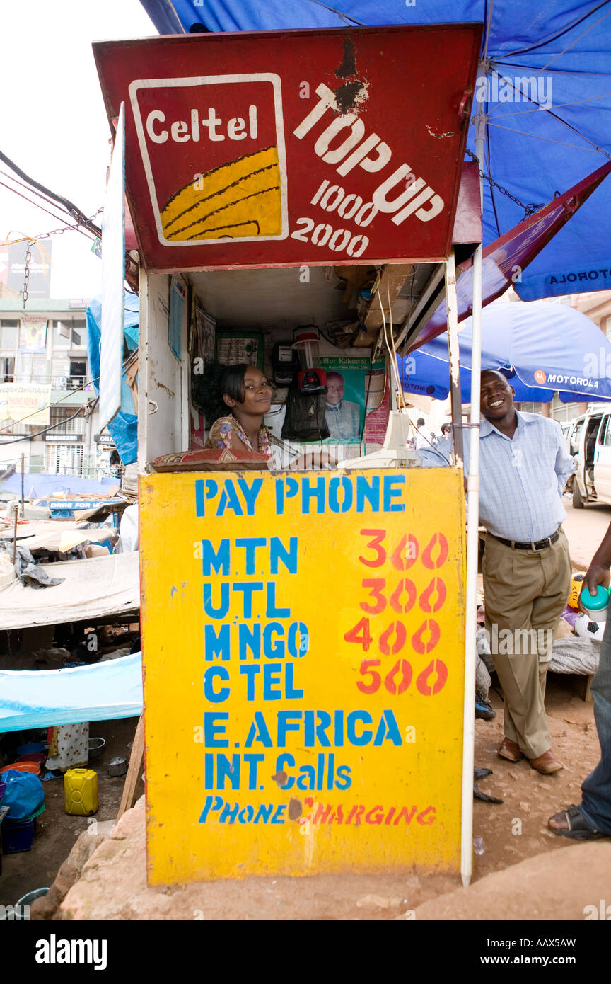 TBC shop owner an operator of MTN mobile payphone above the