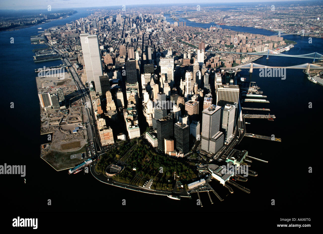 aerial of manhattan island new york city pre 911 stock. Black Bedroom Furniture Sets. Home Design Ideas