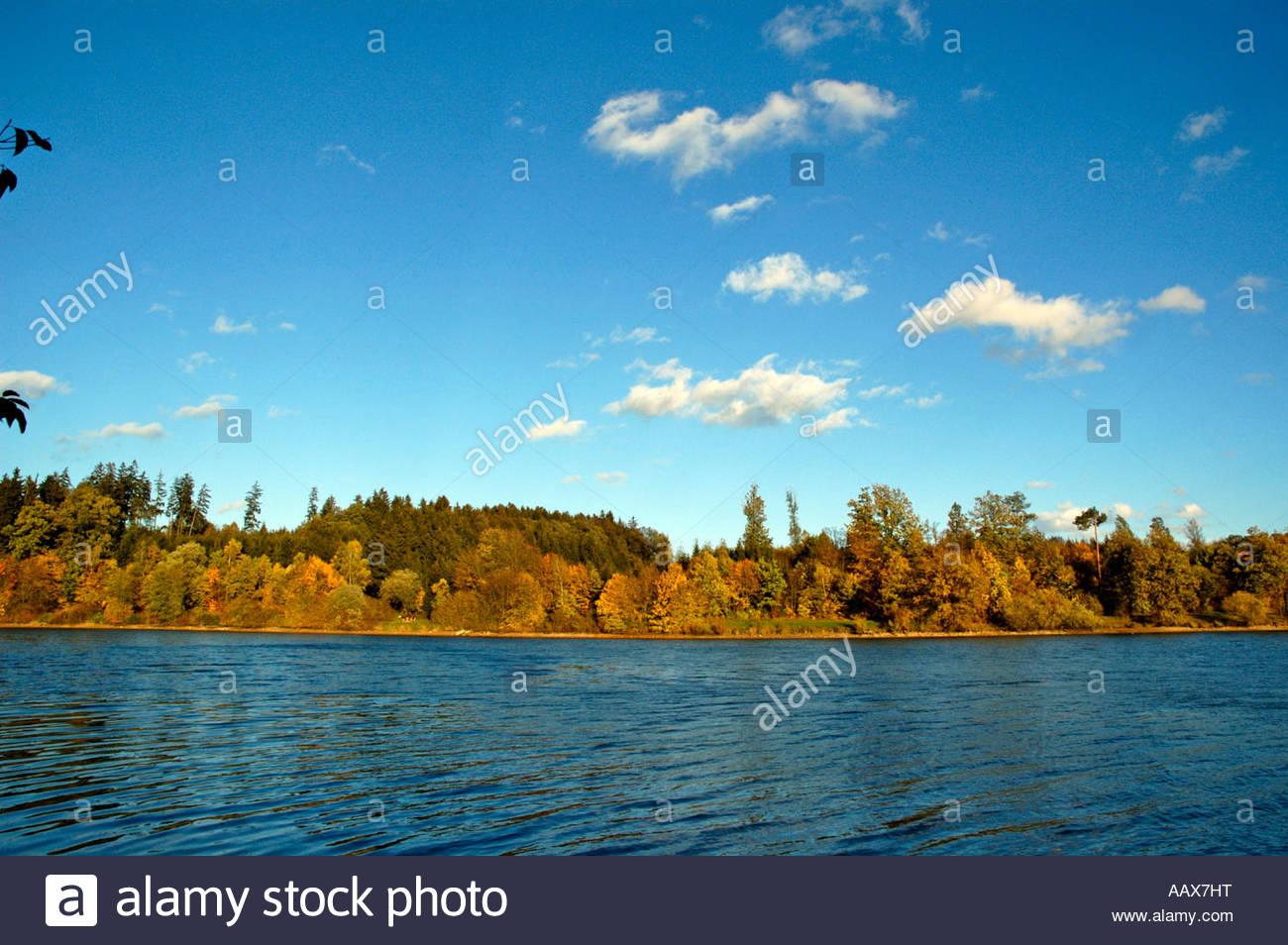 Bucher Stausee Hauptbecken im Herbst Ostalbkreis Baden Wuerttemberg Deutschland - Stock Image