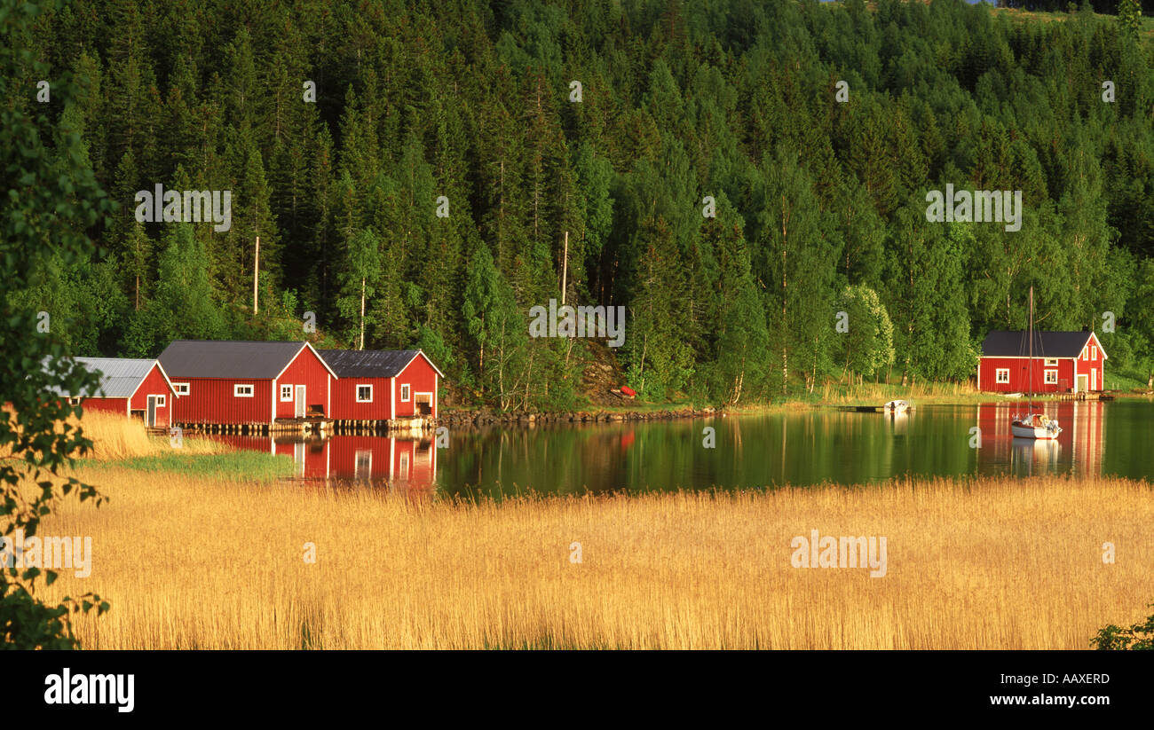 Red country houses along inland waterways on the High Coast of Angermanland Ångermanland in Sweden - Stock Image